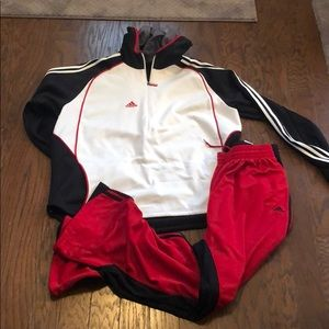 Adidas 2 piece track suit red white and black